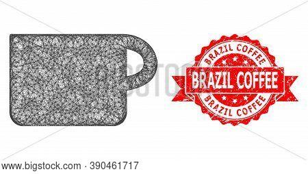Network Cup Icon, And Brazil Coffee Textured Ribbon Stamp Seal. Red Stamp Seal Includes Brazil Coffe