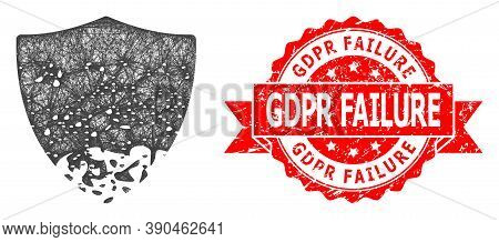 Wire Frame Damaged Shield Icon, And Gdpr Failure Unclean Ribbon Stamp. Red Stamp Contains Gdpr Failu