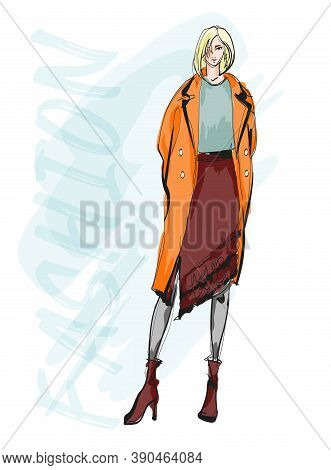 Beautiful Young Blonde Hair Woman In Autumn Coat. Hand Drawn Fashion Girl. Fashion Model Posing. Ske
