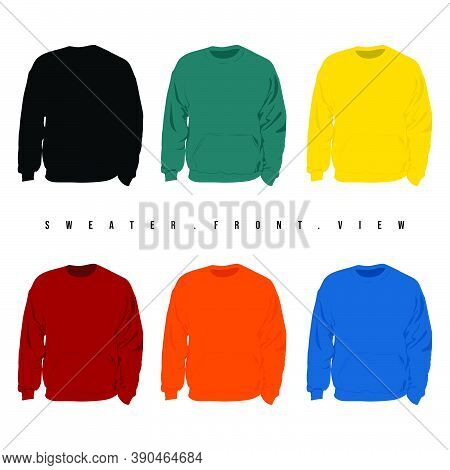 Set Mock Up Of Sweater View From The Front Vector Illustration. Good Template For Neck Sweater Desig