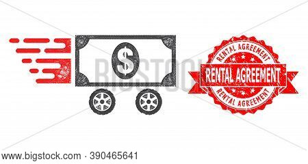 Network Dollar Car Icon, And Rental Agreement Corroded Ribbon Stamp Seal. Red Stamp Includes Rental