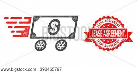 Wire Frame Dollar Delivery Wagon Icon, And Lease Agreement Rubber Ribbon Seal. Red Seal Includes Lea