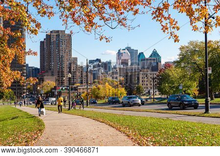 Montreal, Canada - 17 October 2020: Montreal Skyline From Park Avenue, In The Fall Season.