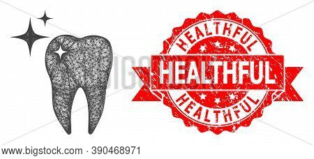 Net Excellent Tooth Icon, And Healthful Dirty Ribbon Stamp Seal. Red Seal Contains Healthful Caption