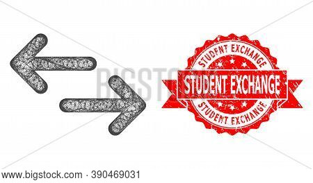 Wire Frame Exchange Arrows Icon, And Student Exchange Unclean Ribbon Stamp Seal. Red Stamp Contains