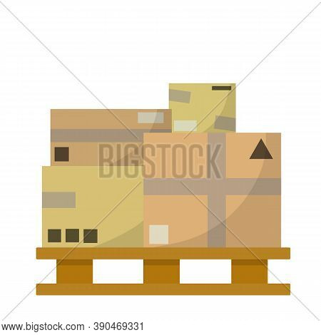 Package And Carton On Wooden Pallet. Bunch Of Cardboard Boxes.