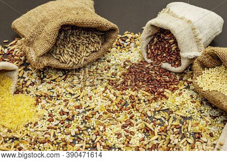 Assorted Variety Of Cereals In Handmade Sacks