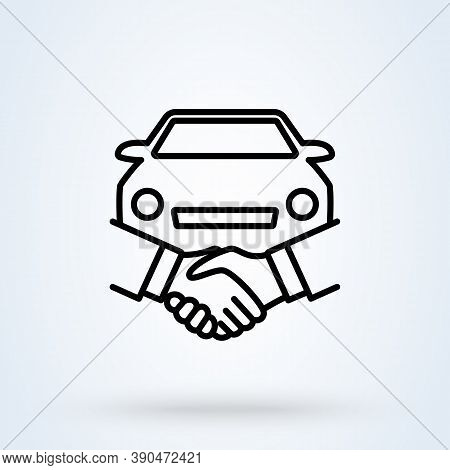 Car Deal With Hand Shake Sign Line Icon Or Logo. Business Shaking Concept. Car Dealer Making A Deal
