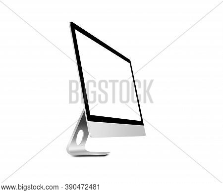 Computer Monitor Or Desktop Pc With White Screen. Isolated On White Background. 3d Illustration.