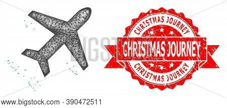 Wire Frame Flying Air Liner Icon, And Christmas Journey Rubber Ribbon Stamp Seal. Red Stamp Seal Has