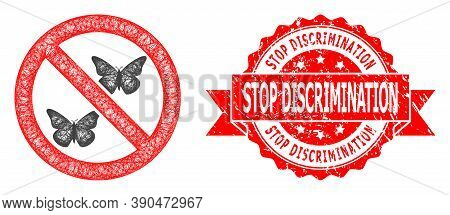 Wire Frame Forbidden Butterflies Icon, And Stop Discrimination Rubber Ribbon Stamp Seal. Red Seal In