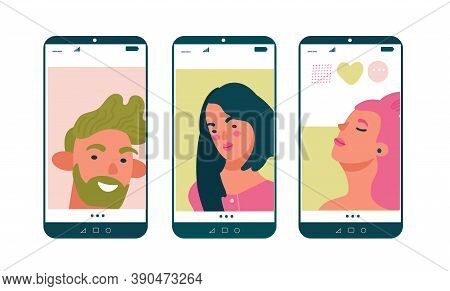 Portraits Beauty People On Mobile Screens. Online Dating Concept For Dating Website App. Flat Vector