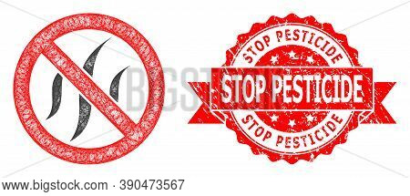 Network Forbidden Flavors Icon, And Stop Pesticide Corroded Ribbon Stamp Seal. Red Stamp Seal Includ