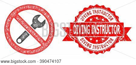 Wire Frame Forbidden Repair Icon, And Diving Instructor Rubber Ribbon Stamp Seal. Red Seal Includes