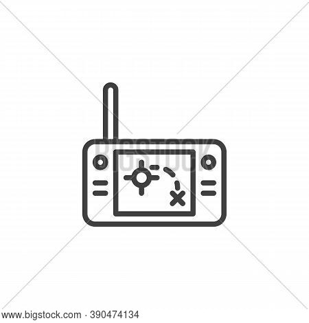 Handheld Radar Line Icon. Linear Style Sign For Mobile Concept And Web Design. Military Remote Contr