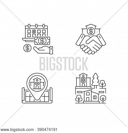Commercial Deal For Realty Pixel Perfect Linear Icons Set. Real Estate. House Location On Map. Custo