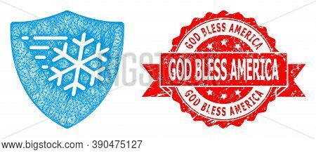 Wire Frame Frost Protection Icon, And God Bless America Scratched Ribbon Stamp Seal. Red Stamp Seal