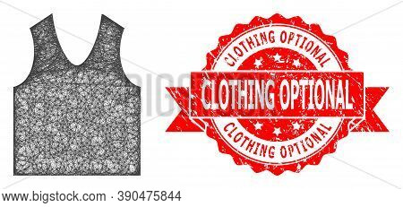 Wire Frame Gilet Icon, And Clothing Optional Textured Ribbon Seal Print. Red Stamp Seal Has Clothing