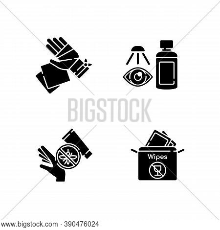 Emergency Medical Kit Black Glyph Icons Set On White Space. Gauze Bandage And Pads. Eyewash Cleanser