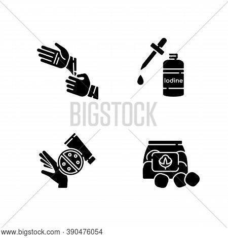 Medical Equipment Black Glyph Icons Set On White Space. Disposable Sterile Gloves. Iodine In Bottle.