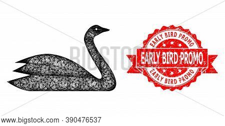 Network Goose Icon, And Early Bird Promo Corroded Ribbon Stamp Seal. Red Stamp Seal Includes Early B
