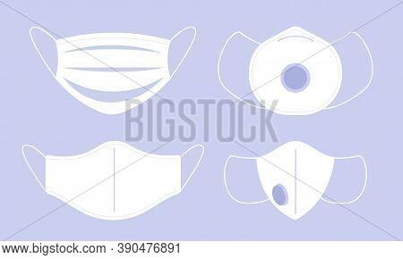 Face Medical Mask. Coronavirus Surgical Respiratory Masks. Pandemic Protection Vector Flat Equipment