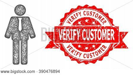 Wire Frame Groom Icon, And Verify Customer Scratched Ribbon Stamp Seal. Red Stamp Seal Includes Veri