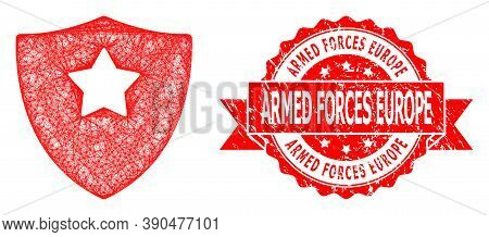 Wire Frame Guard Shield Icon, And Armed Forces Europe Unclean Ribbon Seal. Red Seal Has Armed Forces