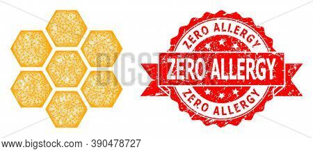 Network Honeycombs Icon, And Zero Allergy Textured Ribbon Stamp Seal. Red Stamp Seal Contains Zero A