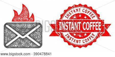 Network Hot Mail Icon, And Instant Coffee Grunge Ribbon Stamp Seal. Red Stamp Seal Contains Instant