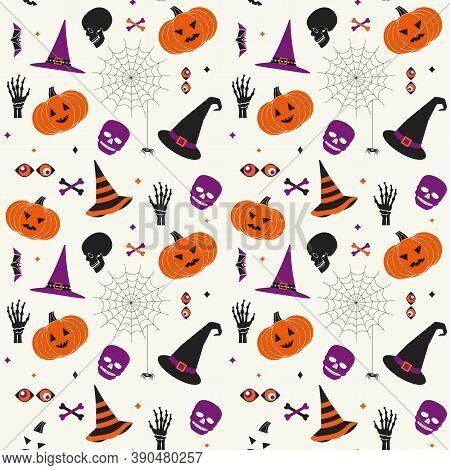 Halloween Holiday Comic Symbol Set Seamless Vector Pattern. Cute With Hat, Pumpkin, Skull, Black Spi