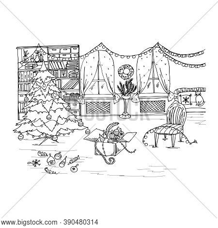 Christmas Coloring Book With Room, Toys, Christmas Tree, Holiday Decorations, Furniture . Vector Ill