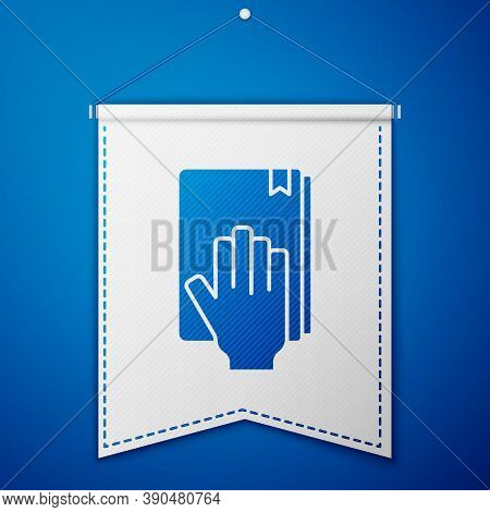 Blue Oath On The Holy Bible Icon Isolated On Blue Background. The Procedure In Court. Truth And Trut
