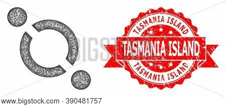 Net Link Icon, And Tasmania Island Dirty Ribbon Stamp Seal. Red Stamp Seal Contains Tasmania Island