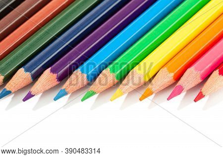 Color Pencils Isolated On White Background. Colorful Colored Pencils. Copy Space