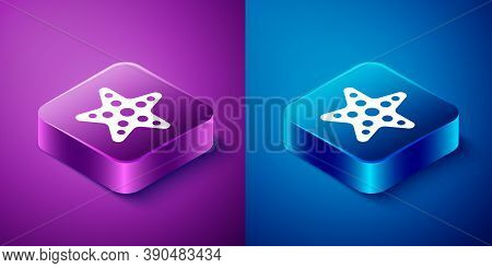 Isometric Starfish Icon Isolated On Blue And Purple Background. Square Button. Vector