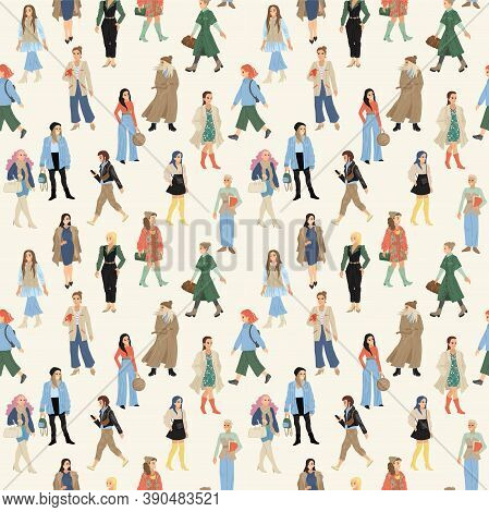 Women In Different Bright Clothes. People Seamless Pattern. Texture Print For Textiles. Vector Illus