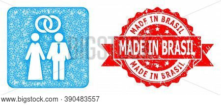 Network Marriage Persons Icon, And Made In Brasil Rubber Ribbon Seal Print. Red Stamp Seal Contains