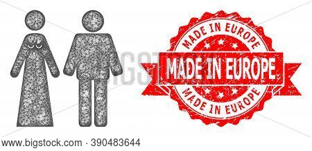 Wire Frame Married Groom And Bribe Icon, And Made In Europe Textured Ribbon Stamp Seal. Red Seal Has