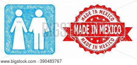 Net Married Groom And Bribe Icon, And Made In Mexico Rubber Ribbon Stamp Seal. Red Stamp Seal Includ