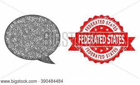 Wire Frame Message Cloud Icon, And Federated States Unclean Ribbon Stamp Seal. Red Stamp Includes Fe