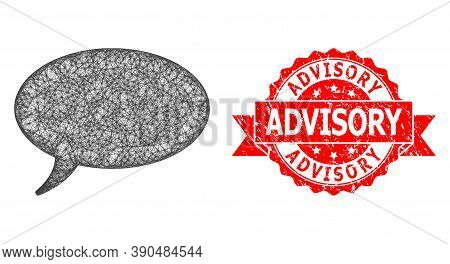 Wire Frame Message Cloud Icon, And Advisory Corroded Ribbon Stamp. Red Stamp Has Advisory Title Insi