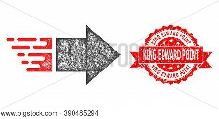 Net Move Right Icon, And King Edward Point Rubber Ribbon Stamp. Red Stamp Seal Contains King Edward