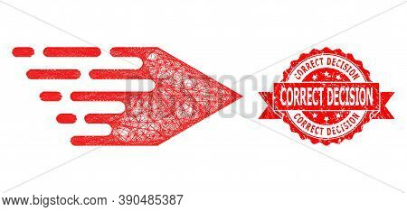 Wire Frame Movement Right Icon, And Correct Decision Dirty Ribbon Seal Imitation. Red Stamp Seal Has