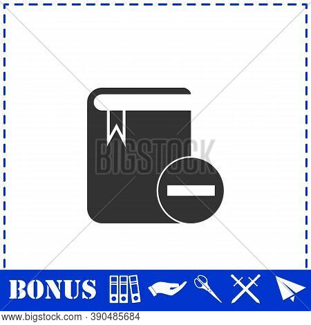 Book Minus Icon Flat. Simple Vector Symbol And Bonus Icon