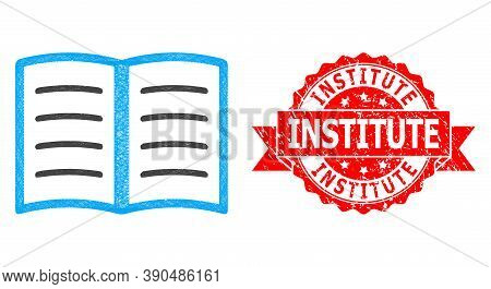 Wire Frame Open Book Icon, And Institute Unclean Ribbon Seal. Red Seal Has Institute Title Inside Ri