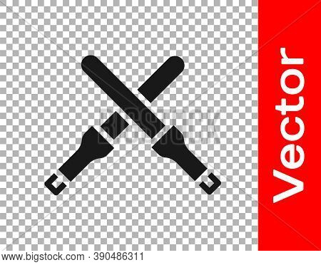 Black Marshalling Wands For The Aircraft Icon Isolated On Transparent Background. Marshaller Communi