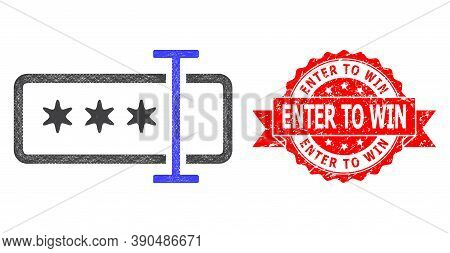Net Password Field Icon, And Enter To Win Rubber Ribbon Seal Print. Red Stamp Seal Contains Enter To