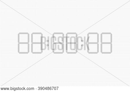 Digital Timer Template. Display Of Time With Counter Hours And Minutes Modern Second Alarm Panel Wit