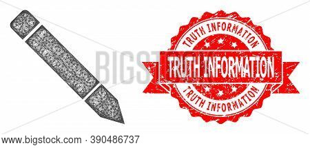 Wire Frame Pencil Icon, And Truth Information Unclean Ribbon Stamp Seal. Red Stamp Seal Includes Tru
